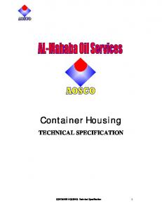 Container Housing TECHNICAL SPECIFICATION. CONTAINER HOUSING Technical Specification 1