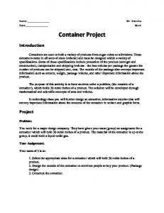 Container Project. Introduction. Project