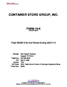 CONTAINER STORE GROUP, INC