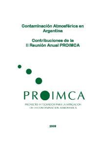 Contaminación Atmosférica en Argentina. Contribuciones de la II Reunión Anual PROIMCA