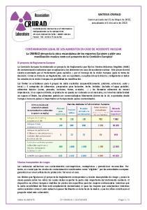 CONTAMINACION LEGAL DE LOS ALIMENTOS EN CASO DE ACCIDENTE NUCLEAR