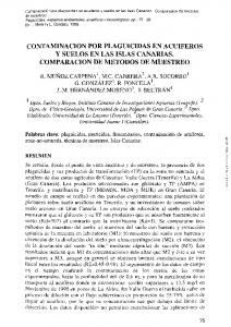 CONTAMINACION POR PLAGUICIDAS EN ACUIFEROS y SUELOS EN LAS ISLAS CANARIAS. COMPARACION DE METODOS DE MUESTREO