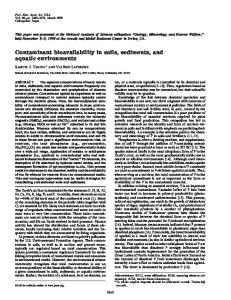 Contaminant bioavailability in soils, sediments, and aquatic environments