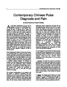 Contemporary Chinese Pulse Diagnosis and Pain