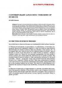 CONTEMPORARY LINGUISTIC THEORIES OF HUMOUR