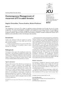 Contemporary Management of recurrent UTI in adult females
