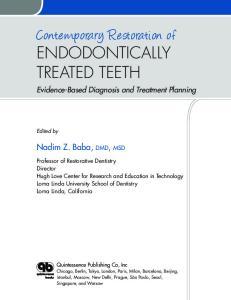 Contemporary Restoration of ENDODONTICALLY TREATED TEETH
