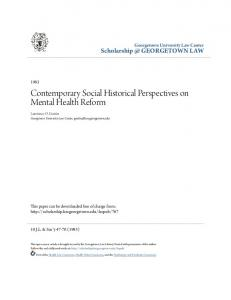 Contemporary Social Historical Perspectives on Mental Health Reform
