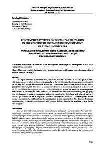 CONTEMPORARY VIEWS ON SOCIAL PARTICIPATION IN THE CONTEXT OF SUSTAINABLE DEVELOPMENT OF RURAL LANDSCAPES