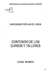 CONTENIDO DE LOS CURSOS Y TALLERES