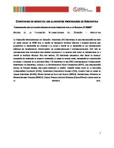 CONTENIDO DE SODIO EN LOS ALIMENTOS PROCESADOS DE ARGENTINA