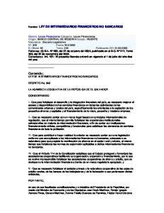 Contenido; LEY DE INTERMEDIARIOS FINANCIEROS NO BANCARIOS