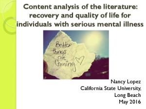 Content analysis of the literature: recovery and quality of life for individuals with serious mental illness