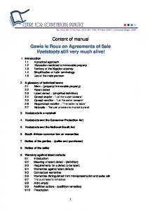 Content of manual Gawie le Roux on Agreements of Sale Voetstoots still very much alive!
