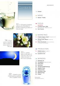 Contents. 10 I Anti-ageing peptides. 20 I Just the. 22 I Marekt survey NEWS