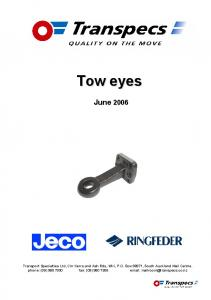 Contents. 50mm weld-in tow eye. Flange mount tow eye. Interchangeable tow eye