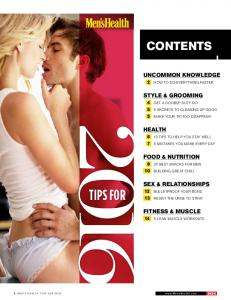 CONTENTS FOOD & NUTRITION SEX & RELATIONSHIPS TIPS FOR. 1 Men s Health Tips for
