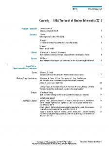 Contents IMIA Yearbook of Medical Informatics 2015