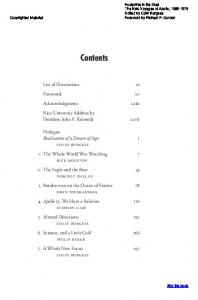 Contents. List of Illustrations. Foreword. Acknowledgments. Rice University Address by President John F. Kennedy