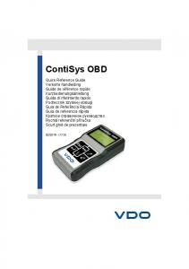 Contents. Quick Reference Guide. Introduction... 6 Overview... 6 ContiSys OBD Service Tool... 8 Cable identification... 9