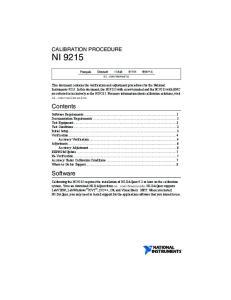 Contents. Software CALIBRATION PROCEDURE NI 9215