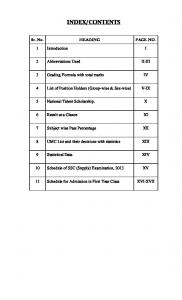 CONTENTS. Sr. No. HEADING PAGE NO. 1 Introduction I. 2 Abbreviations Used II-III. 3 Grading Formula with total marks IV