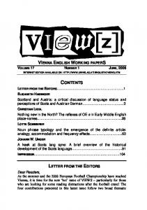 CONTENTS VIENNA ENGLISH WORKING PAPERS VOLUME 17 NUMBER 1 JUNE, 2008 LETTER FROM THE EDITORS