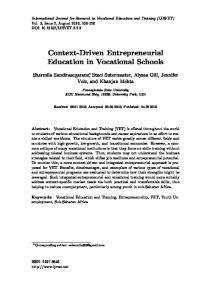 Context-Driven Entrepreneurial Education in Vocational Schools