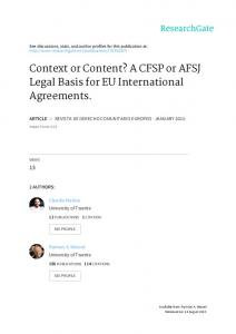 Context or Content? A CFSP or AFSJ Legal Basis for EU International Agreements