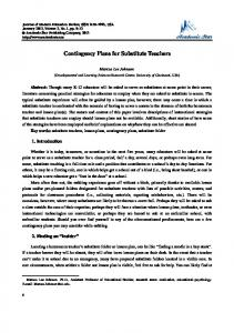 Contingency Plans for Substitute Teachers