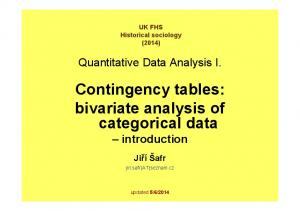 Contingency tables: bivariate analysis of categorical data introduction
