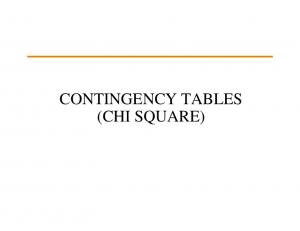 CONTINGENCY TABLES (CHI SQUARE)