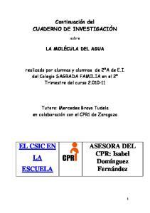 Continuación del CUADERNO DE INVESTIGACIÓN. sobre LA MOLÉCULA DEL AGUA