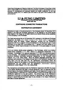 CONTINUING CONNECTED TRANSACTIONS DISTRIBUTION AGREEMENT