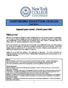 CONTINUING EDUCATION CATALOG Fall 2014