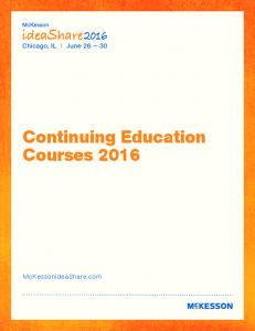 Continuing Education Courses 2016