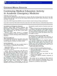 Continuing Medical Education Activity in Academic Emergency Medicine