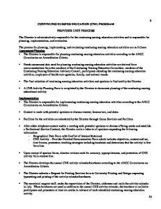 CONTINUING NURSING EDUCATION (CNE) PROGRAM