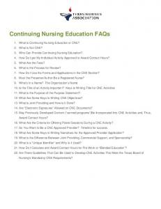 Continuing Nursing Education FAQs