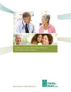 Continuity of Care With Family Medicine Physicians: Why It Matters