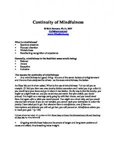 Continuity of Mindfulness