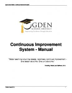 Continuous Improvement System - Manual