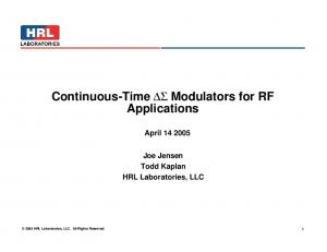 Continuous-Time DS Modulators for RF Applications