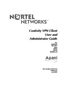 Contivity VPN Client User and Administrator Guide. For: Macintosh Mac OS X Linux Solaris HP-UX Windows CE