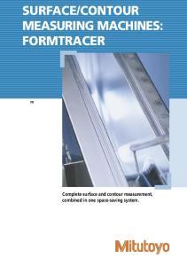 CONTOUR MEASURING MACHINES: FORMTRACER