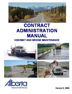 CONTRACT ADMINISTRATION MANUAL HIGHWAY AND BRIDGE MAINTENANCE