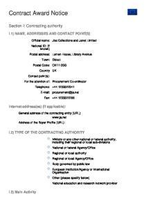 Contract Award Notice