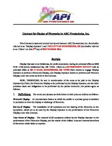 Contract for Display of Fireworks by ARC Pyrotechnics, Inc. Recitals