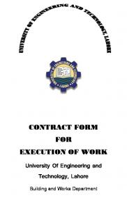 CONTRACT FORM FOR EXECUTION OF WORK. University Of Engineering and Technology, Lahore. Building and Works Department