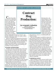 Contract hog production